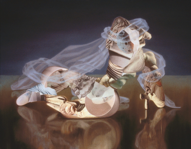 "Porcelete, 1992, oil, collage on linen, 38"" x 48"""