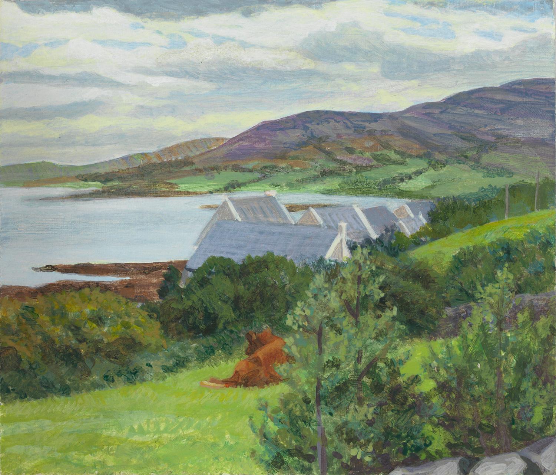 "Tigin North View - Ireland, 2010, acrylic on panel, 4"" x 5"""