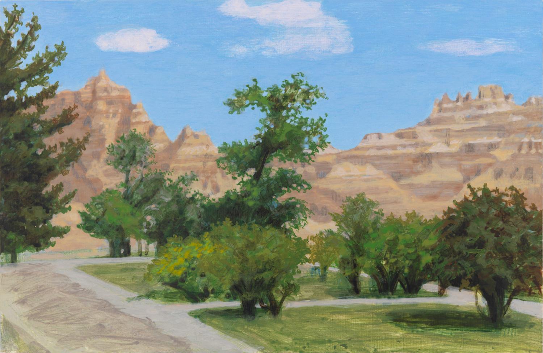 "Badlands, 2009, acrylic on panel, 6"" x 9"""