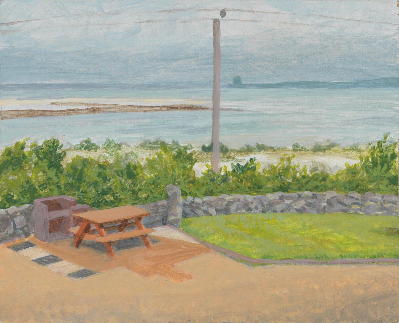 "Tigin Patio - Ireland, 2010, acrylic on panel, 4"" x 5"""