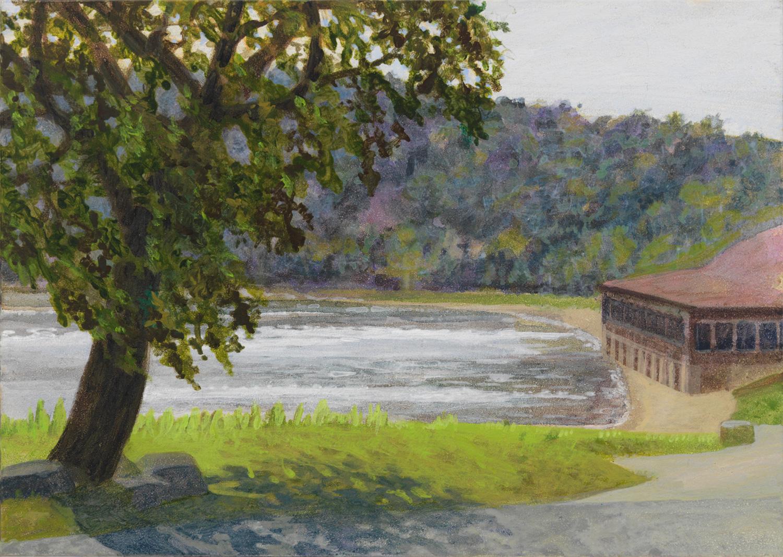 "Devil's Lake North Beach, 2006, acrylic on panel, 5"" x 7"""