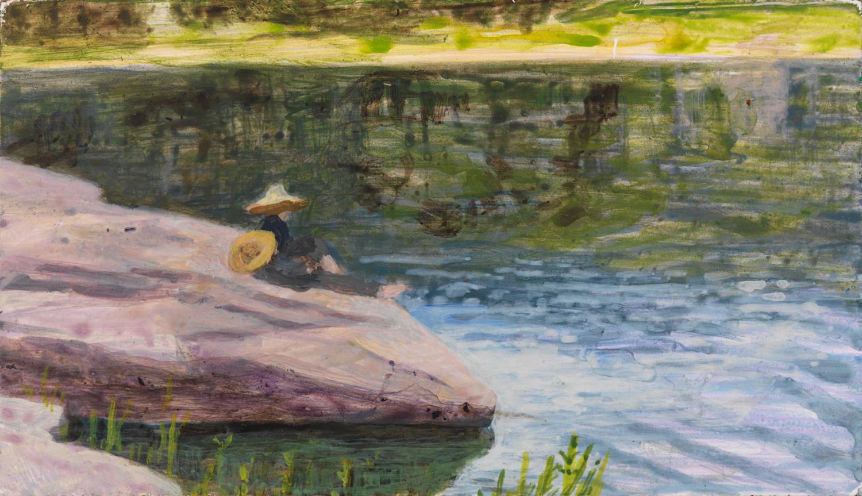 "Narrowsburg, 2007, acrylic on panel, 2.5"" x 4"""