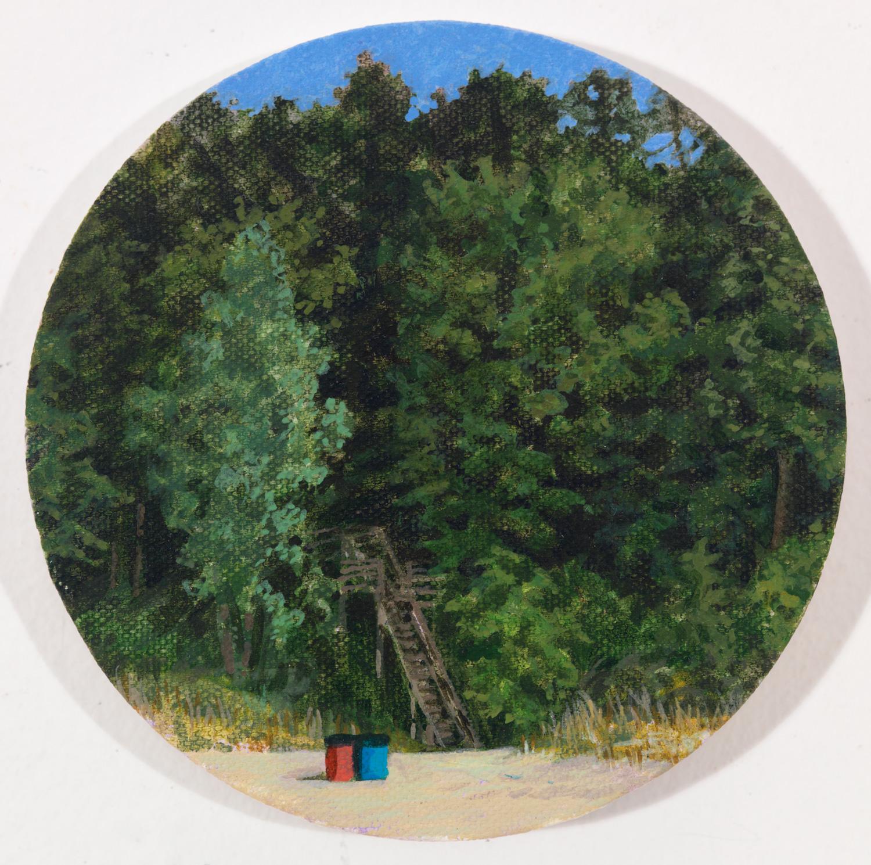 "Union Pier, 2007, acrylic on canvas, 5"" round"