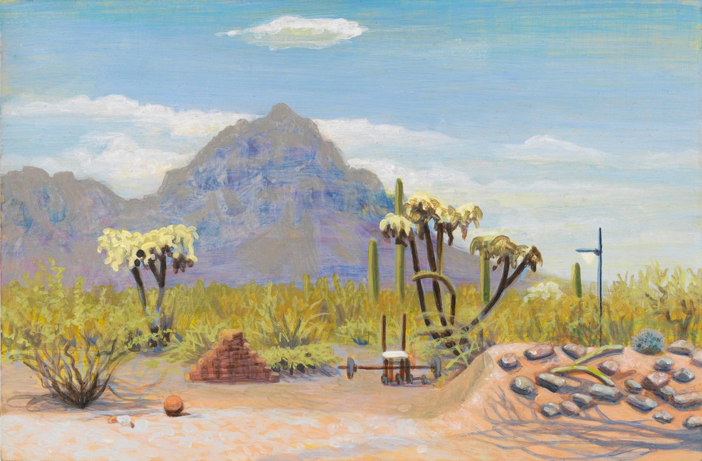 "Tuscon Back Yard, 2000, acrylic on panel, 6"" x 9"""