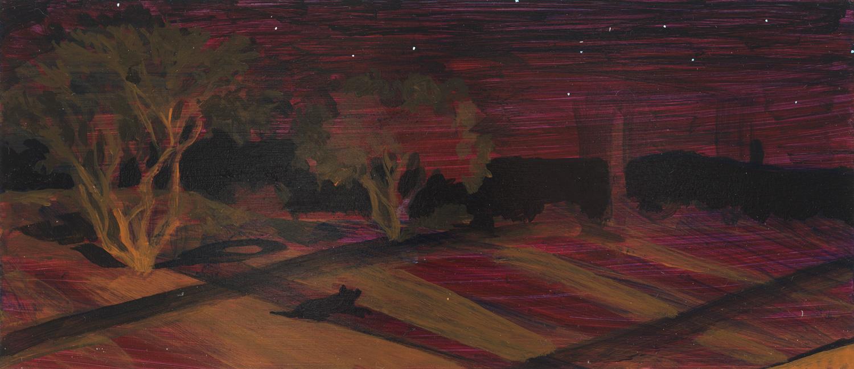"Tuscon at Night, 2000, acrylic on panel, 5.5"" x 12.5"""