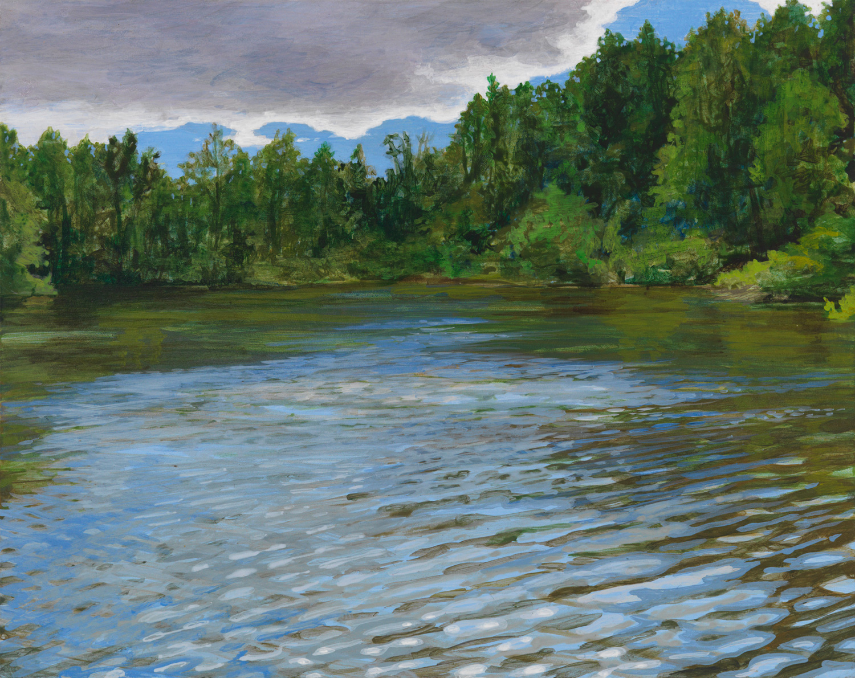 "Mel's Pond Pennsylvania, 2001, acrylic on panel, 8"" x 10"""