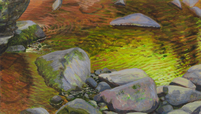 "Pennsylvania Creek 2, 2001, acrylic on panel, 5.5"" x 9.5"""