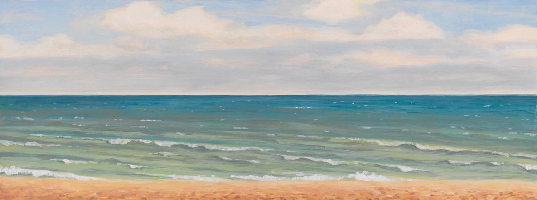 "Michigan Landscape 1, 1997, acrylic on panel, 6"" x 16"""