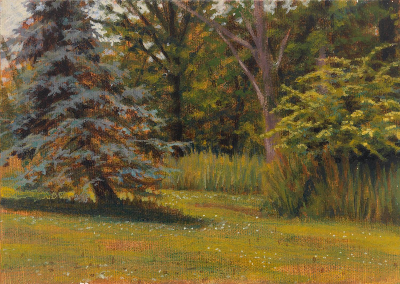 "Pennsylvania Landscape 2, 1997, acrylic on canvas, 5"" x 7"""