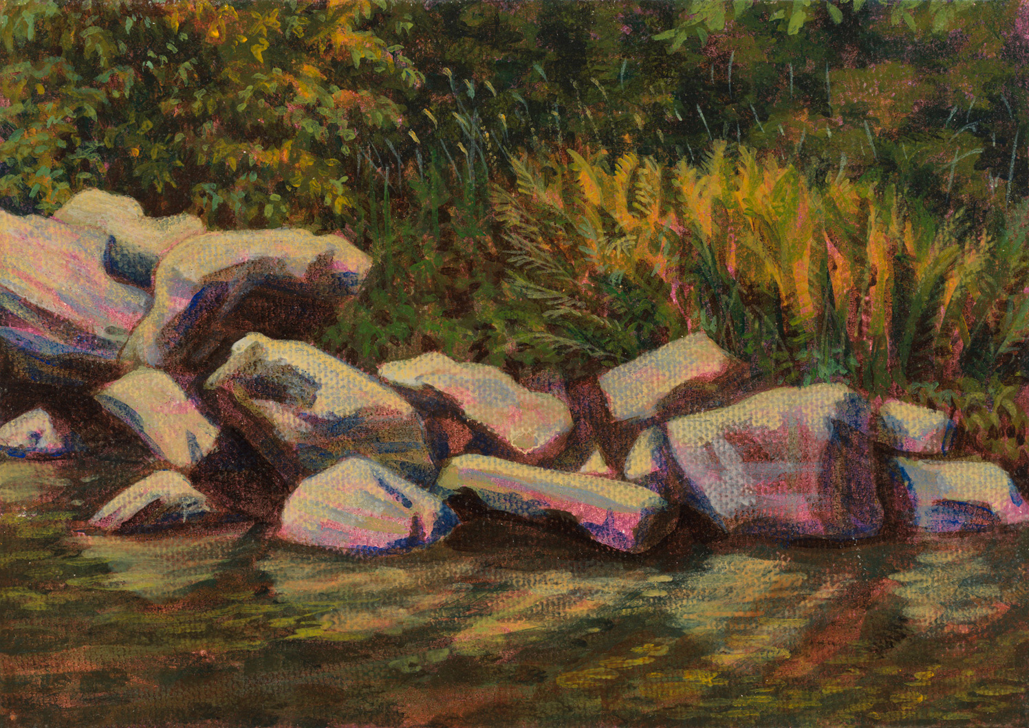 "Garnett's Creek PA, 1997, acrylic on canvas, 5"" x 7"""