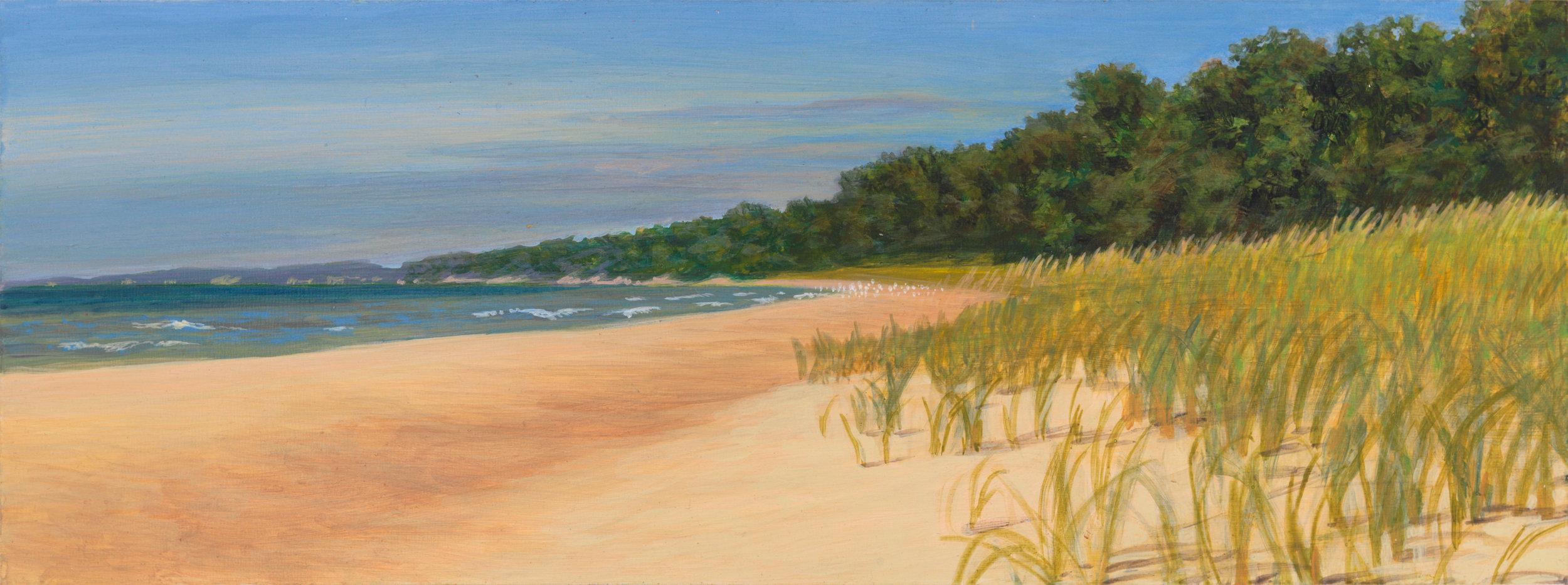 "Michigan Shore 4, 1997, acrylic on panel, 4.5"" x 12"""