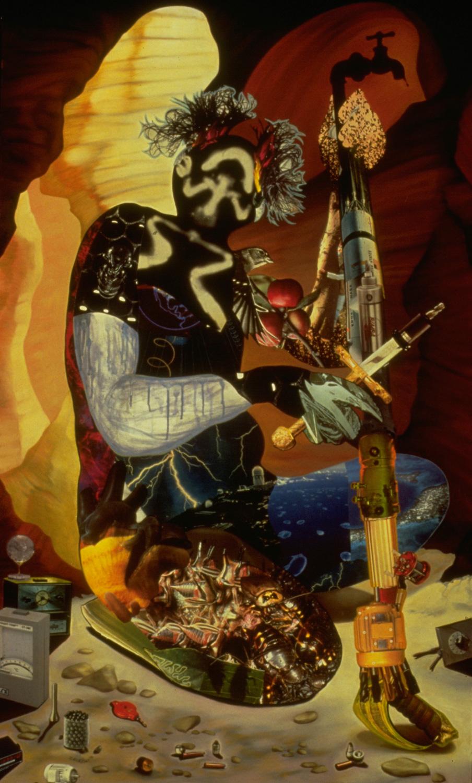 "Rainmaker, 1988, oil, collage on panel, 61"" x 37"""