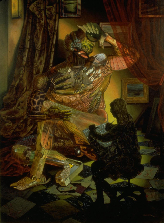 "Ignis Fatuus, 1996, acrylic, oil, collage on linen, 64"" x 45"""