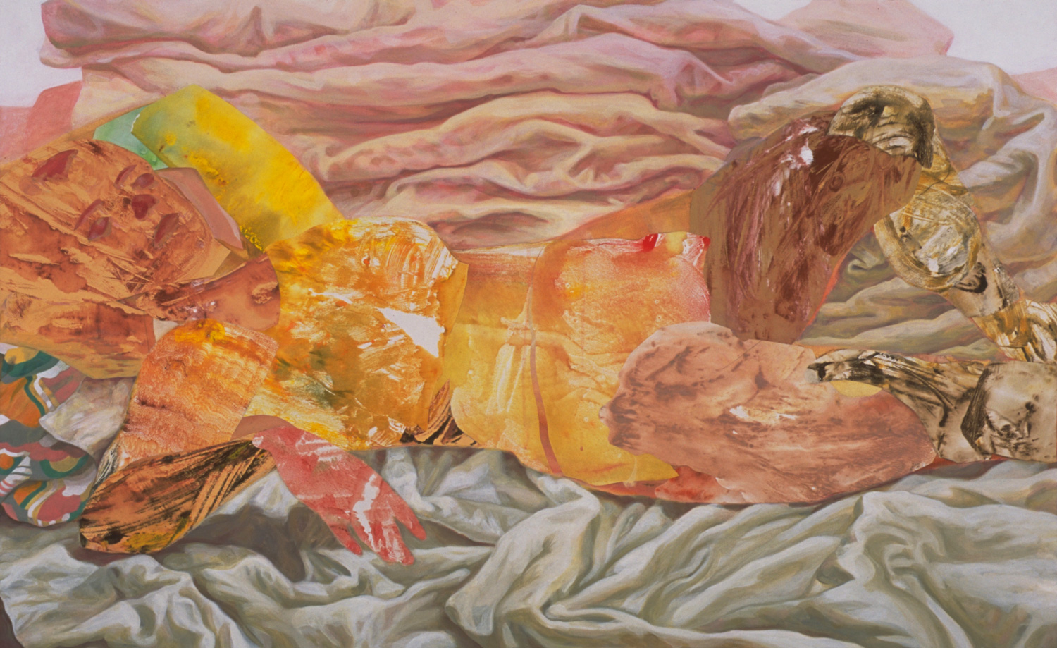 "Someone Else's Life, acrylic, oil, collage on canvas, 2002, 34"" x 55"""