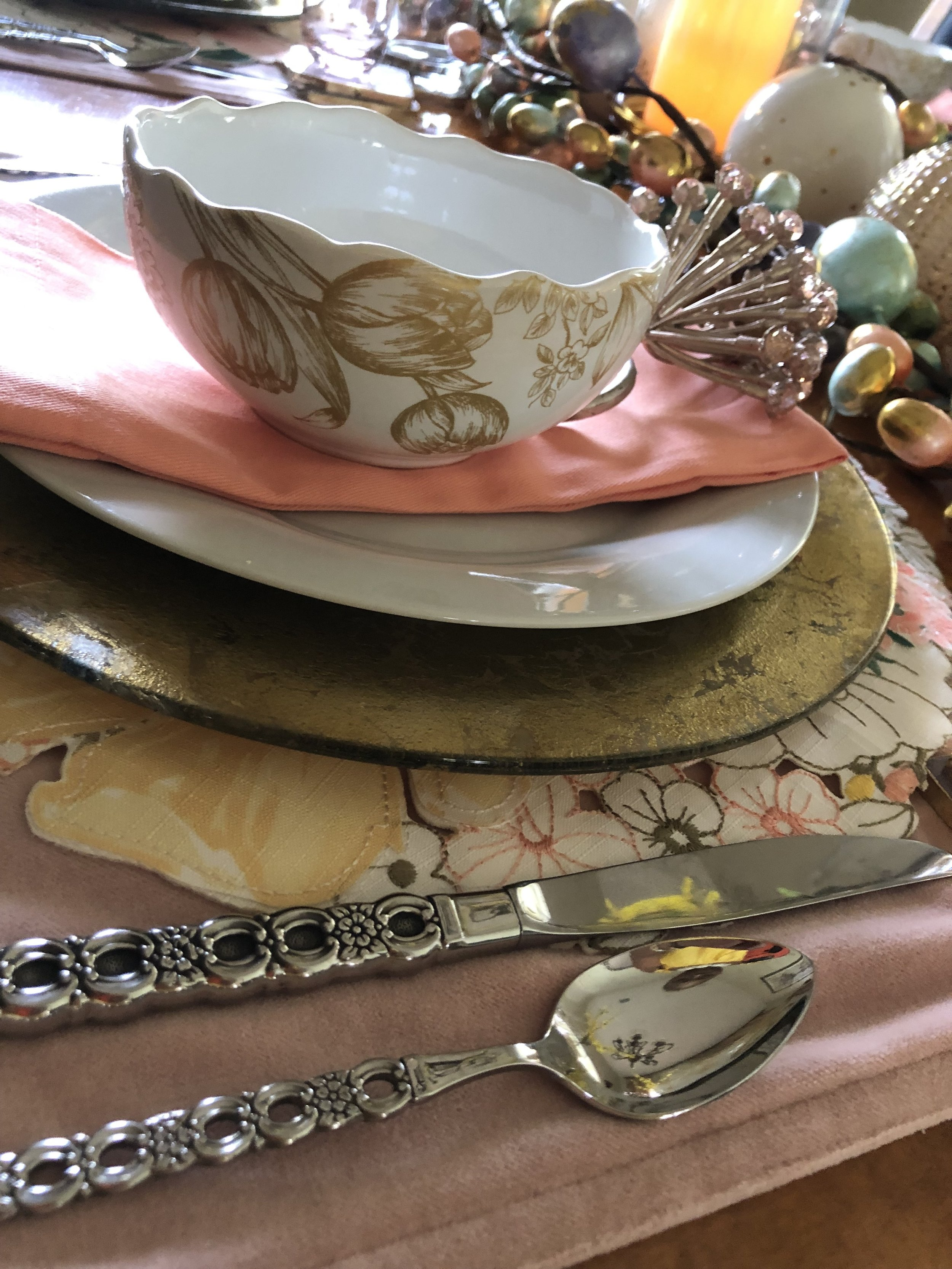 Our Grandmother's silverware is used as the flatware throughout the design.