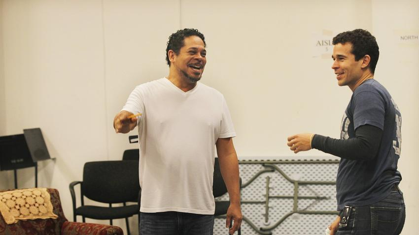 Edward Torres and Rey Lucas (Elliot Ortiz) in rehearsals for West Coast Premiere of  Water by the Spoonful  by Quiara Alegria Hudes at The Old Globe Theatre