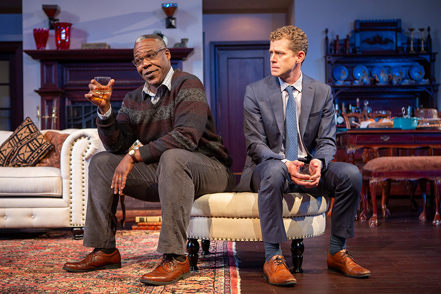 Danny Johnson and Lucas Hall in  Familiar  by Danai Gurira at The Old Globe Theatre (January 26 – March 3, 2019)