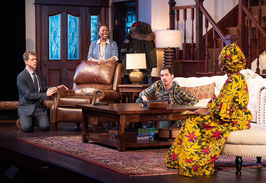 Lucas Hall, Cherene Snow, Anthony Comis and Wandachristine in  Familiar  by Danai Gurira, at The Old Globe Theatre (January 26 – March 3, 2019)