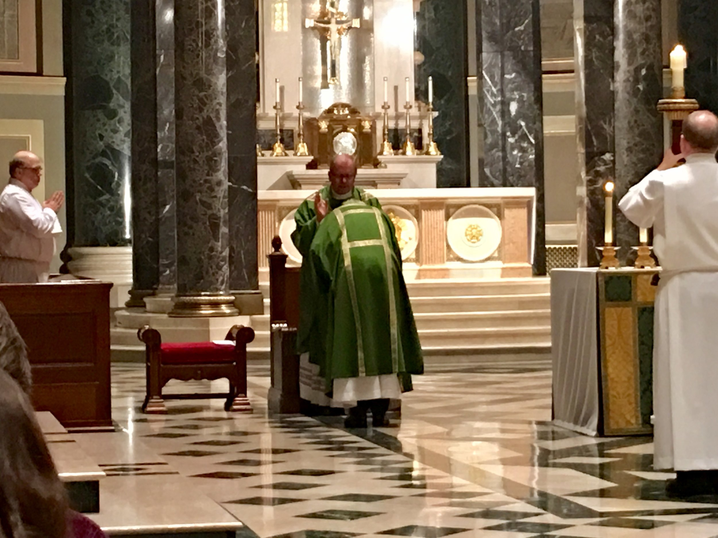 Fr. Dennis Gill, Rector of the Cathedral Basilica and Director of the Archdiocesan Office for Divine Worship, imparts his blessing on our own Deacon Christopher Roberts.