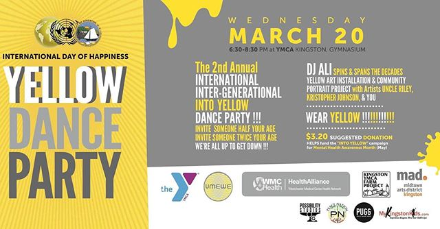 Tonight I'll be spinning tunes for everyone to enjoy at the second annual yellow dance party at the Kingston Y! Celebrate the International Day of Happiness by wearing yellow, spreading joy, and shakin' yer butt 💛💛💛💛