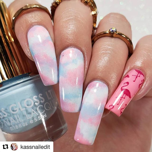"💖Awesome nail art from @kassnailedit ・・・ Cotton Candy Clouds & Flamingos 💟💙🌌 using @FlossGloss shades: Bobby Bobby | Playa Del Pink | & their GLOSS QDTC .🙌🏼 Tutorial Tomorrow! Sponged on a bit of @DimensionNails Coconut Milk & stamped some ""Mingos"", as my middle child calls them (lol) on my pinky using More Precious than Rubies by @simplyswirlspolish from the #LePetiteIndies Mothers Day box & the @bornprettystore plate ""BP-L076"" Last but not least, can't forget the @knibeautyandbath Weed Wacker Clean Up Brush & Glitter UP! Cuticle Guard.🤪"