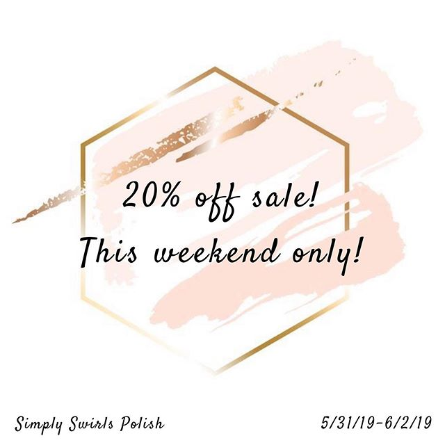 ✨20% OFF SALE✨⠀ NO COUPON NEEDED⠀ I am so grateful for this hobby and this journey with Simply Swirls Polish. I'm so thankful that this community is supportive and kind! ⠀ ♥️♥️⠀ So I've decided to make a weekend sale on my Etsy site. Almost everything has been marked down. The oldies but goldies, the new Disney shades, the full collections and sets. ⠀ .⠀ ALMOST EVERYTHING is discounted so go check out the link in my bio💖💖⠀ .⠀ Sale goes 5/31/19 thru 6/2/19⠀ .⠀ #nails #ignails #nailsofig #nailart #nailpolish ⠀ #nailsonfleek #nailsnailsnails #nails4today #nailswagg #nailjunkie #nailstamping #simplyswirls #indienailpolish #supportindies #nail2inspire #polishnsuch #nailfeature #nailstamping #nailspolish #nailartoohlala #instanails #nailitdaily #nailstoinspire #stampingnailart #nailstagram #indieswatch #nailstampingart #indiesdoitbetter⠀ #indiepositivity @indiepolish411 @indiepolishinfo101