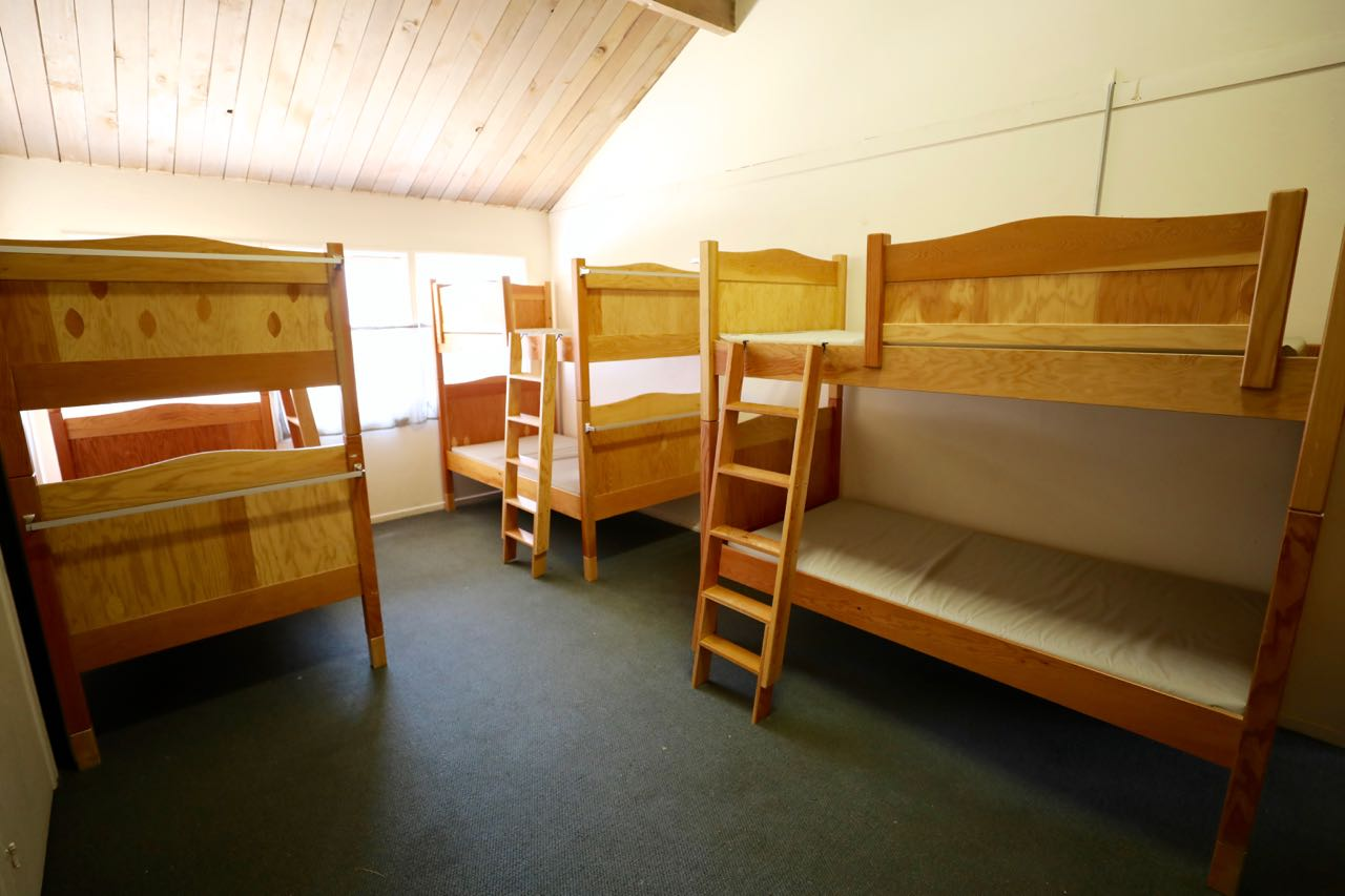A typical sleeping room with bunks