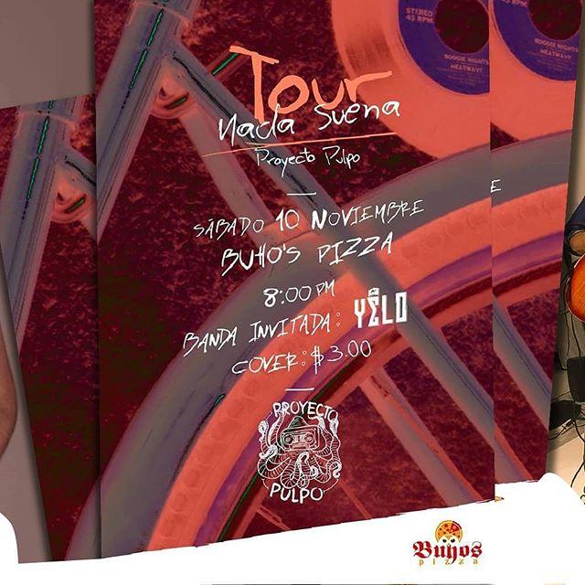 """Hoy nos presentamos con @proyectopulpo.sv en @buhospizza para iniciar la gira """"Nada Suena"""". Nos vemos en el escenario para seguir el viaje musical ⛵  #nadasuena #proyectopulpo #gig #music #yelo #combialcuco #rock #rocklatino #show #newsong #elsalvador #sivar #instasivar #elsalvadorimpresionante #fun"""