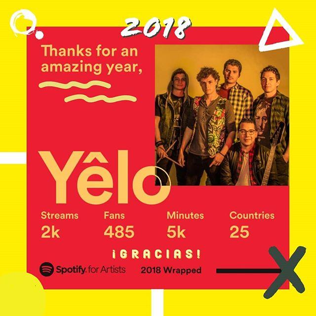 """¡Gracias por un buen 2018! Fue el año de nuestro primer EP """"Amarillo"""" y nuestro primer videoclip """"Combi al Cuco"""". Estamos muy emocionados de seguir creando música y estamos dispuestos a pintar con los colores de Yelo al 2019.  #rock #music #life #band #yelo #amarillo #spotify #wrapup #rockalternativo #rocklatino #friends #elsalvador"""