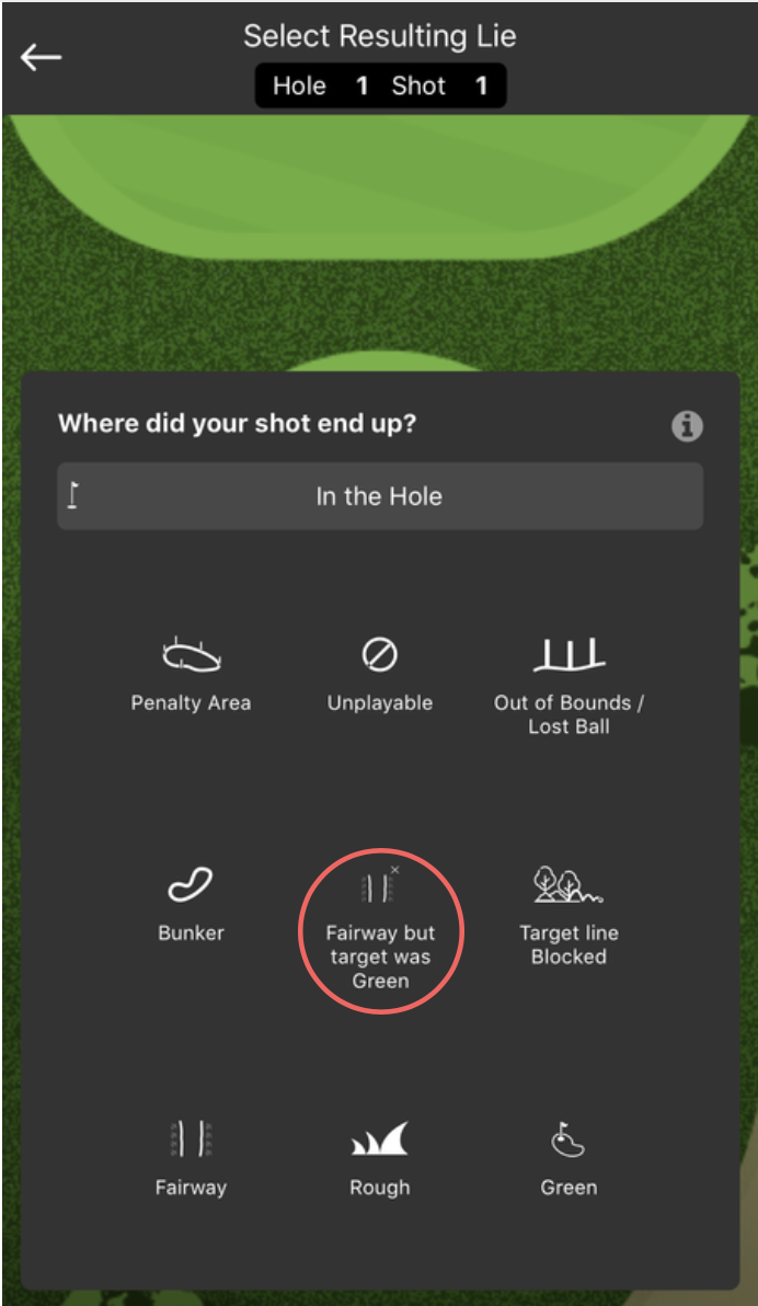 Where did you shot end up? - fairway but target was green