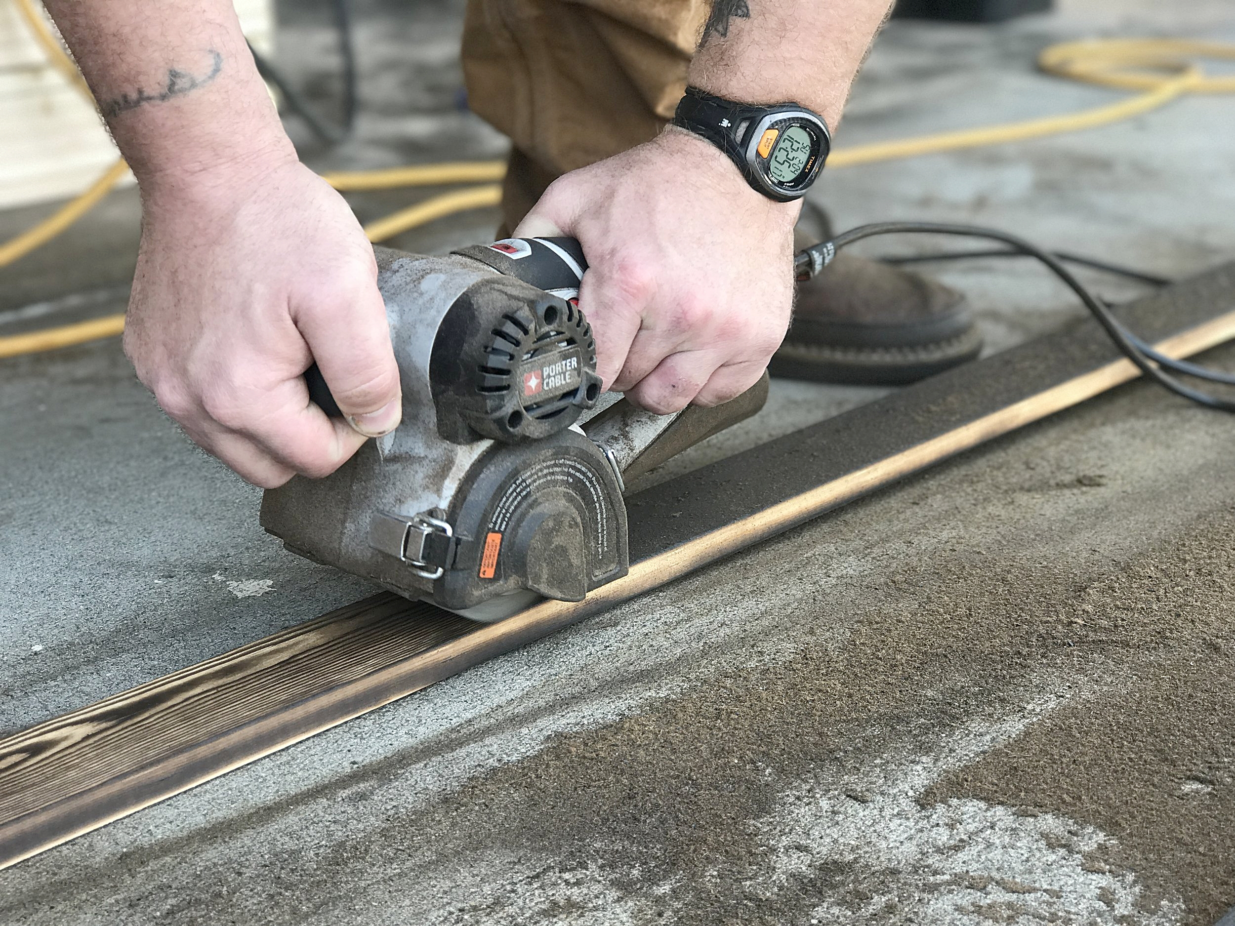 Removing soft spring wood and loose debris is no challenge with the Restorer and optional wire wheel.