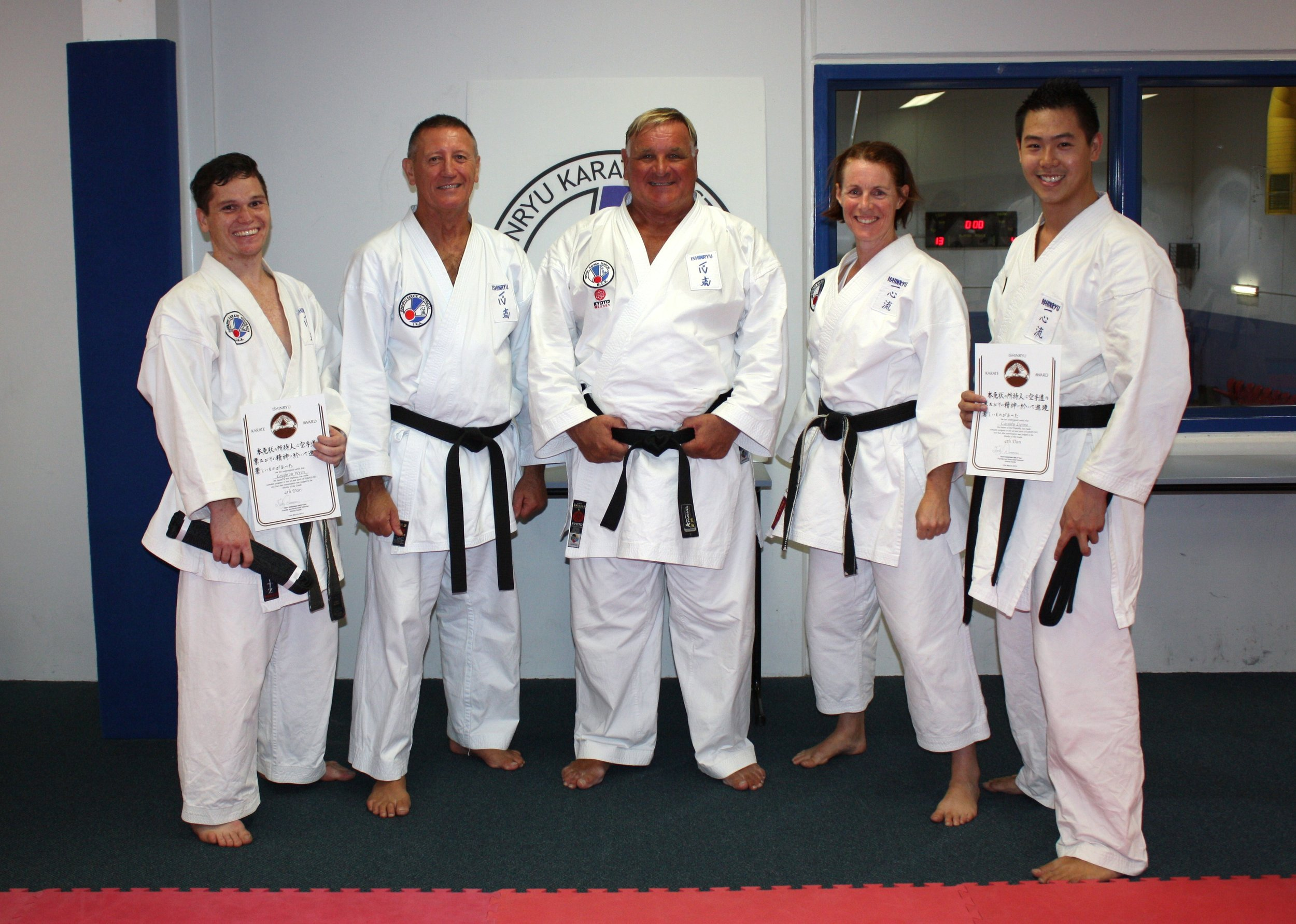 From left to right: Sensei Leighton, Sensei Tony, Sensei Ticky, Sensei Alison, Sensei Cassidy.