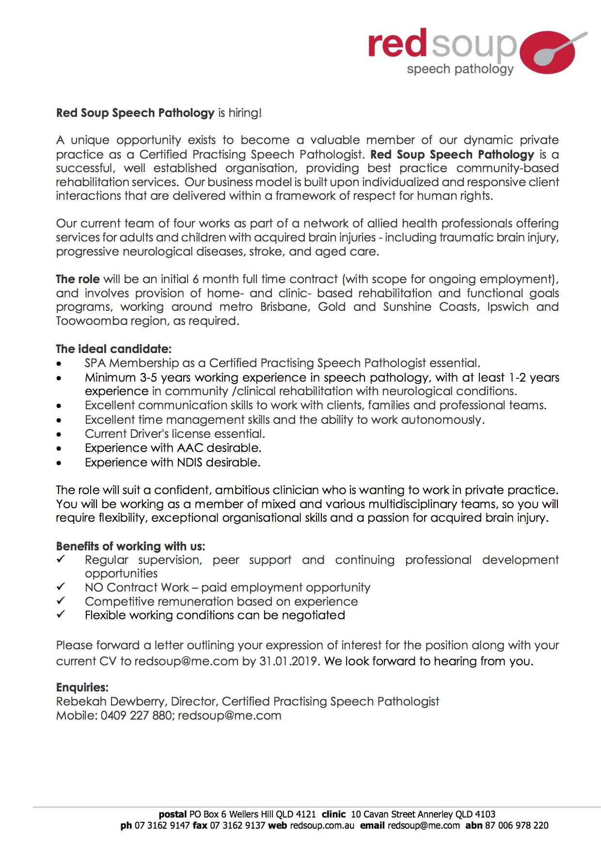 Red Soup Speech Pathology Job Advertisement JAN2019