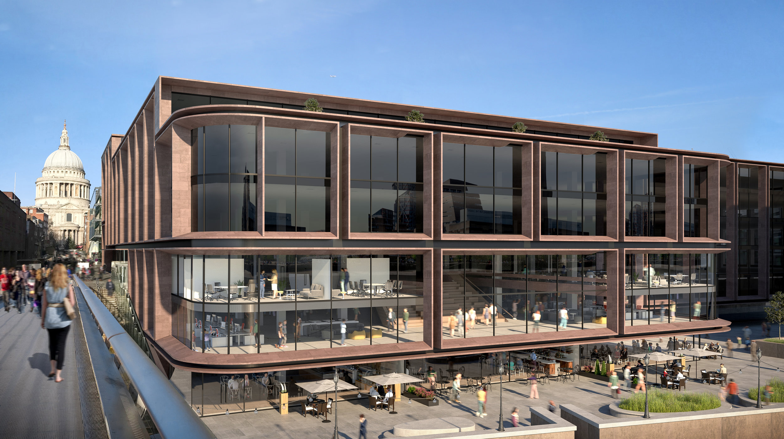 A new restaurant is proposed at the base of Millennium Bridge House, opening up the use and access of the building to the public and providing a lively amenity along the northern bank of the Thames.