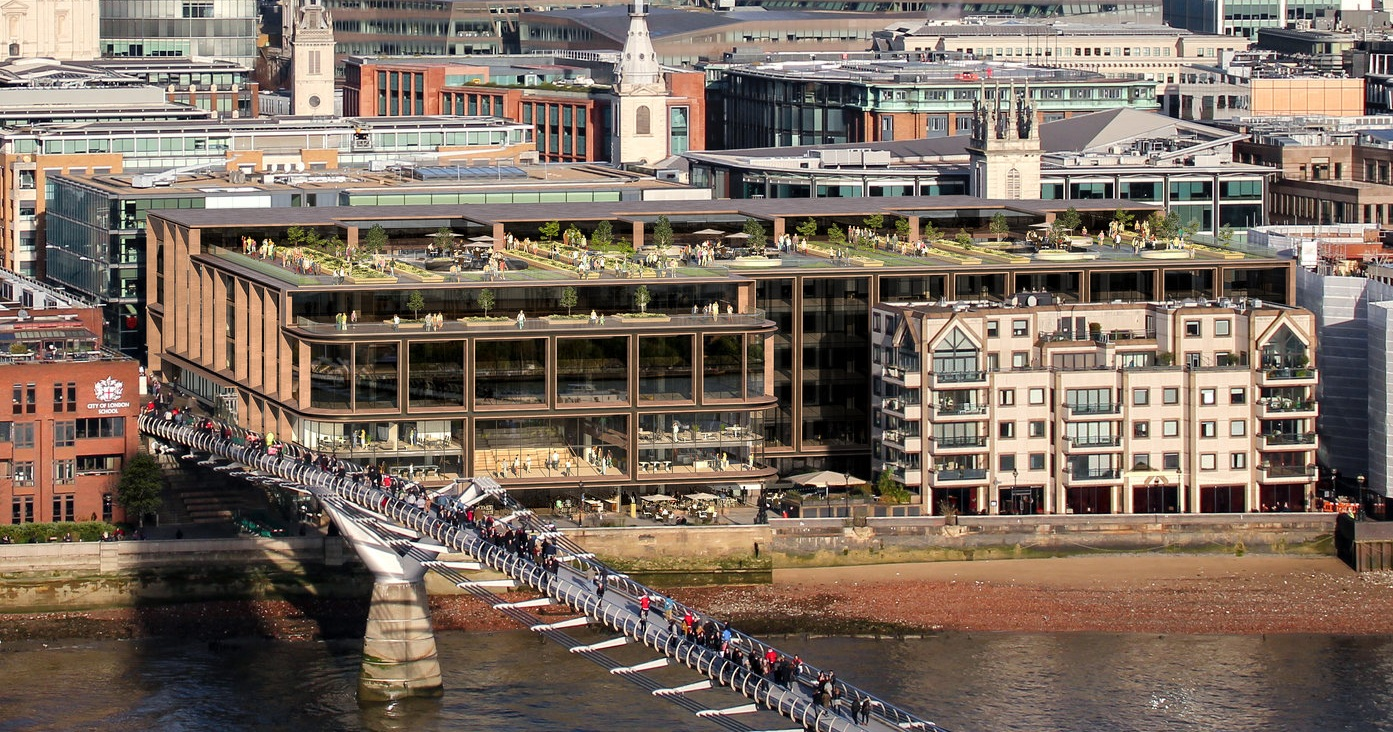The top floor is remodeled to provide access to an event venue & public landscape feature with views to the Thames River and the South Bank.