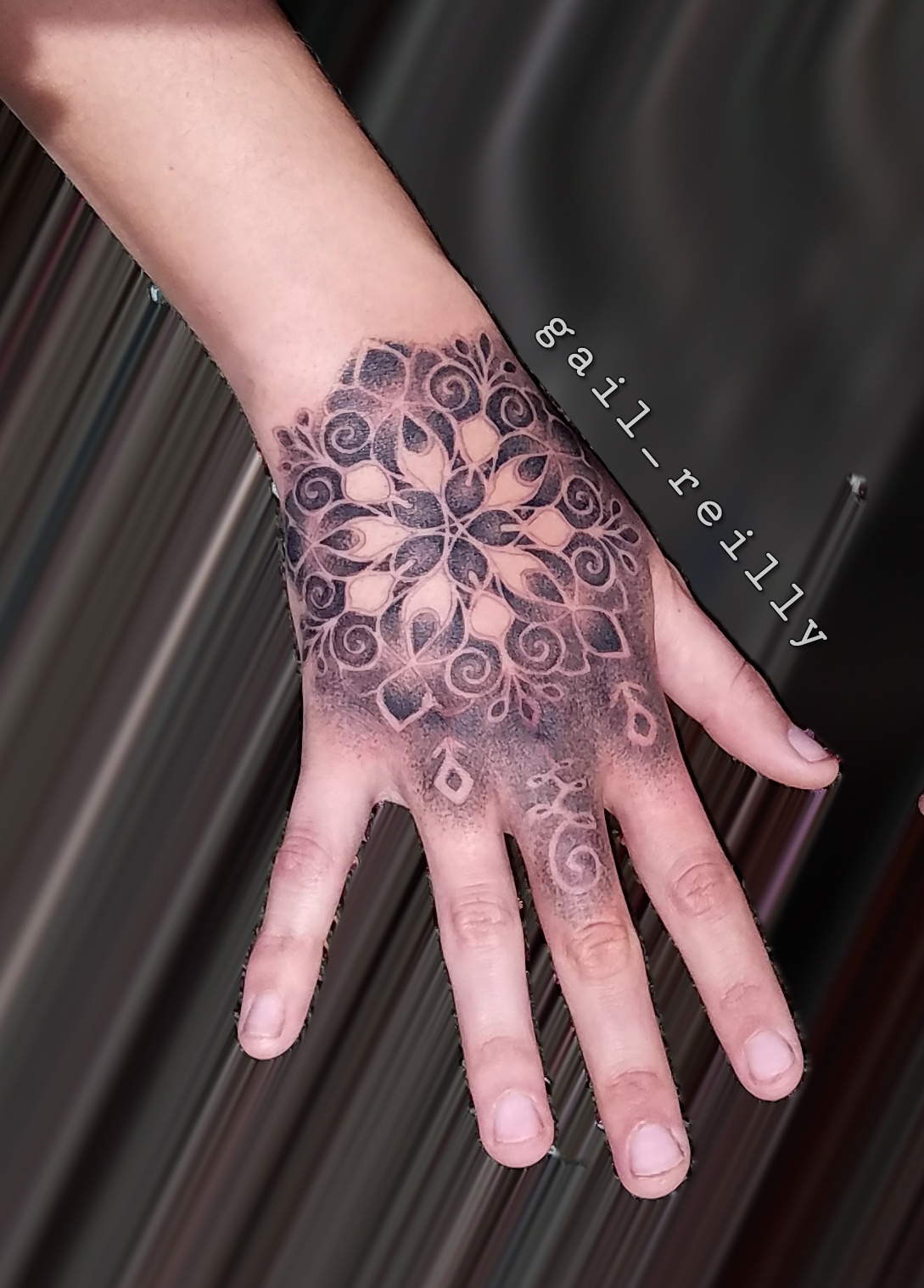 Gail Reilly Tattoo Hand Mandala