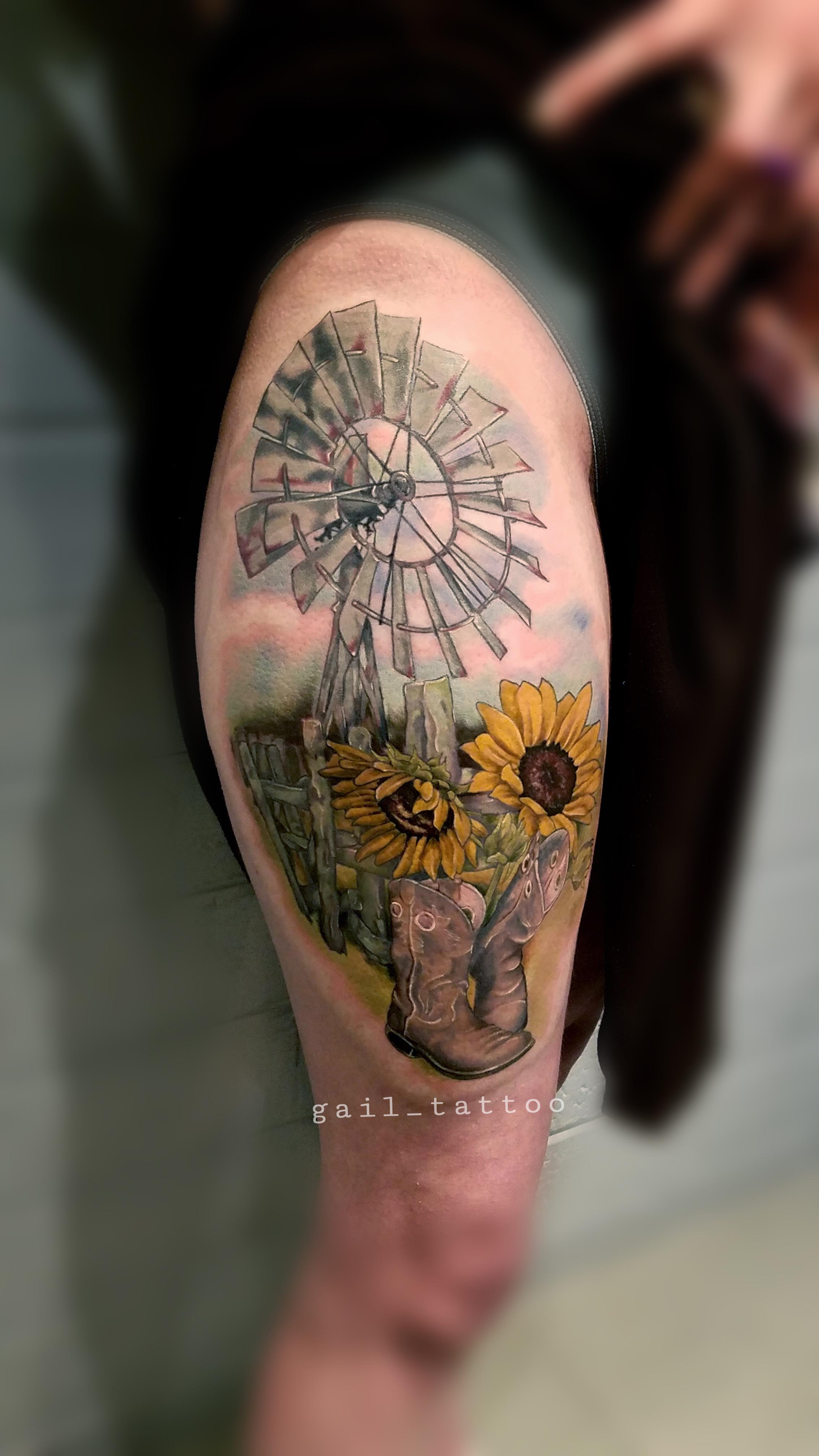 Gail Reilly Tattoo Farm Scene Color
