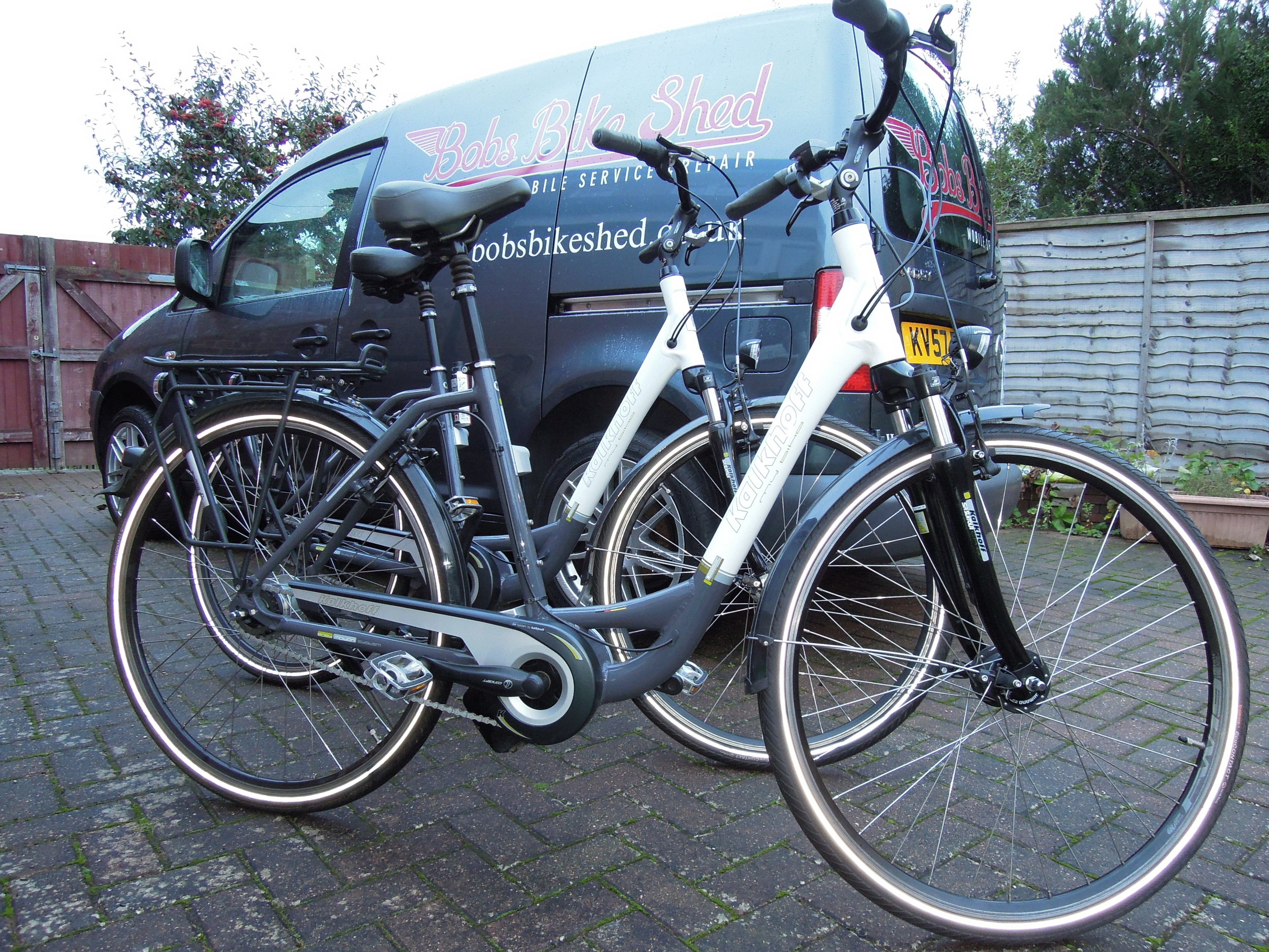 We also service electric bikes. heres an nice pair of kalkhoff' e-bikes ready to go back to the customer