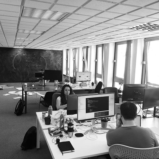 Settling in to the new office space.