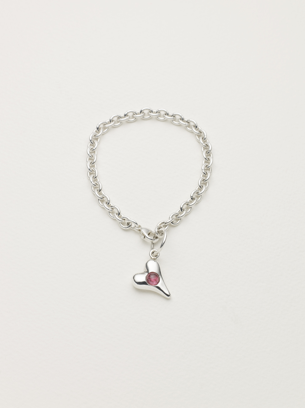 Sterling Silver Heart Bracelet, set cabochon pink tourmaline