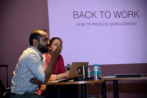 BACK TO WORK - PERFORMANCE STUDIES International, HAMBURG, GERMANYThis paper lays the topographical measure of contemporary workplace over psychological spreads - of artistic practice immersed, employed and waged, a residency-of-sorts in the largest contemporary place of work. Co-authored with Arnika Ahldag