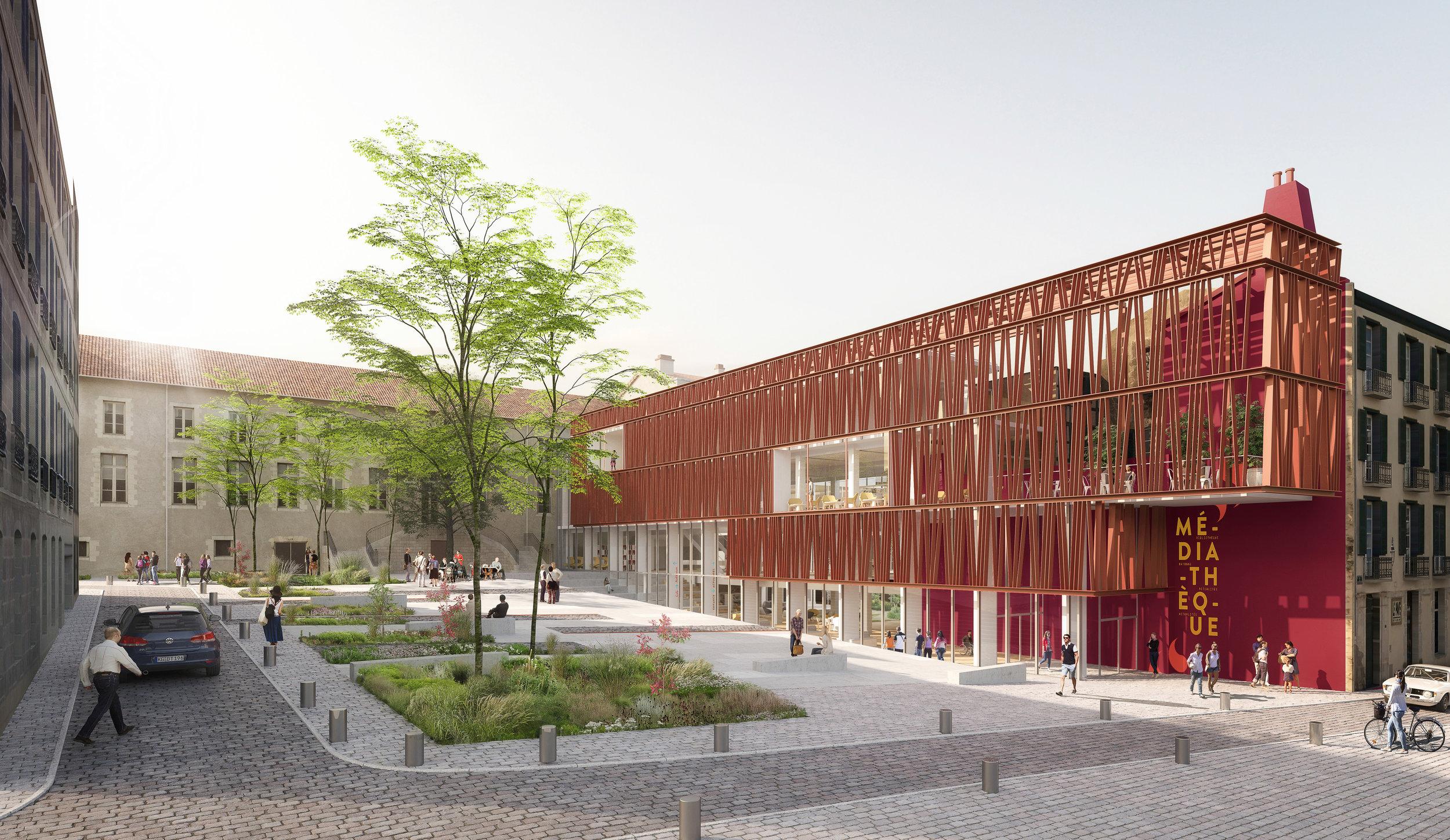 Extension Médiathèque & Square Cathédrale / Bayonne (64)   Le projet d'extension de la médiathèque de Bayonne comprend le nouvel aménagement du square Chanoine Dubarat devant la cathédrale et plusieurs espaces végétalisés à l'intérieur de la médiathèque.