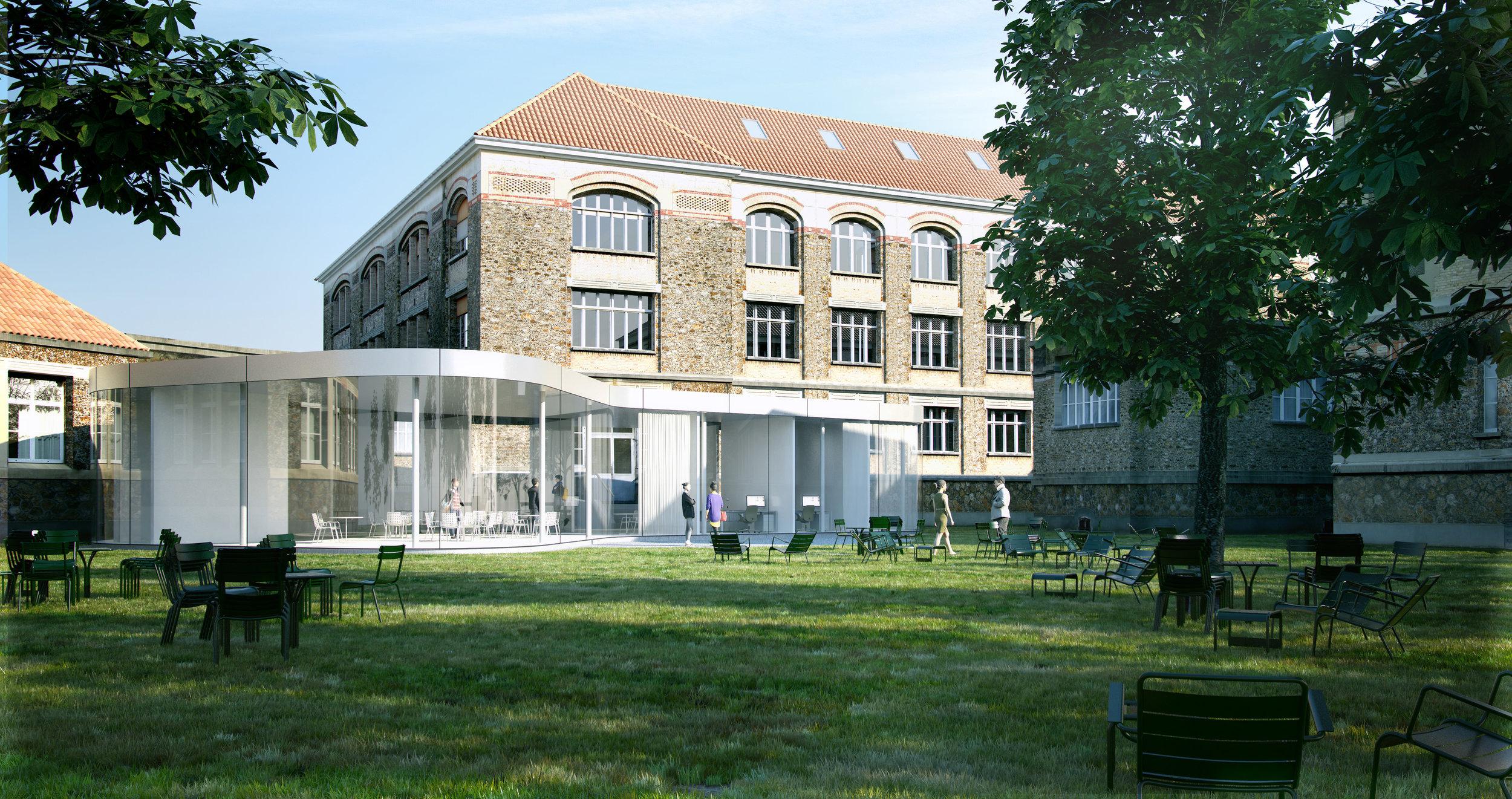 Lycée Horticole Adolphe Chérioux / Vitry-sur-Seine (94)   Implanté sur plus de 5 hectares, le lycée Adolphe Chérioux possède un patrimoine architectural et paysager d'une grande qualité. La restructuration lourde vise à faire évoluer les usages et les pratiques pédagogiques du site.