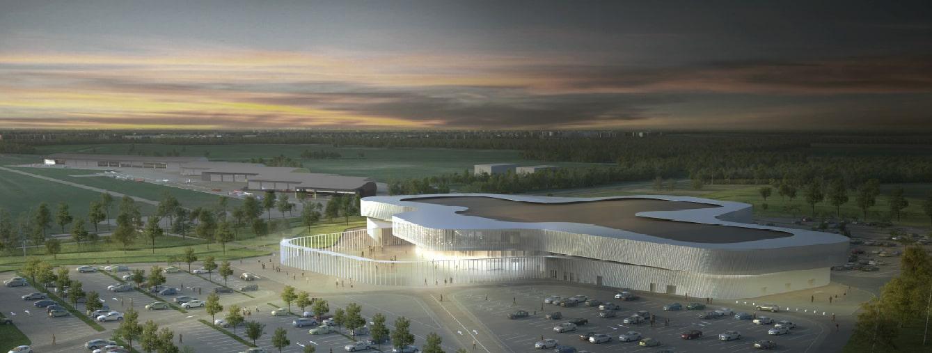 Palais des Expositions / Chartres (28)   Dans le cadre du concours d'architecture du nouveau Palais des Expositions de Chartres, nous faisons émerger le bâtiment d'un grand talus végétal sur toute sa partie sud et ouest et créons ainsi un écrin vert.