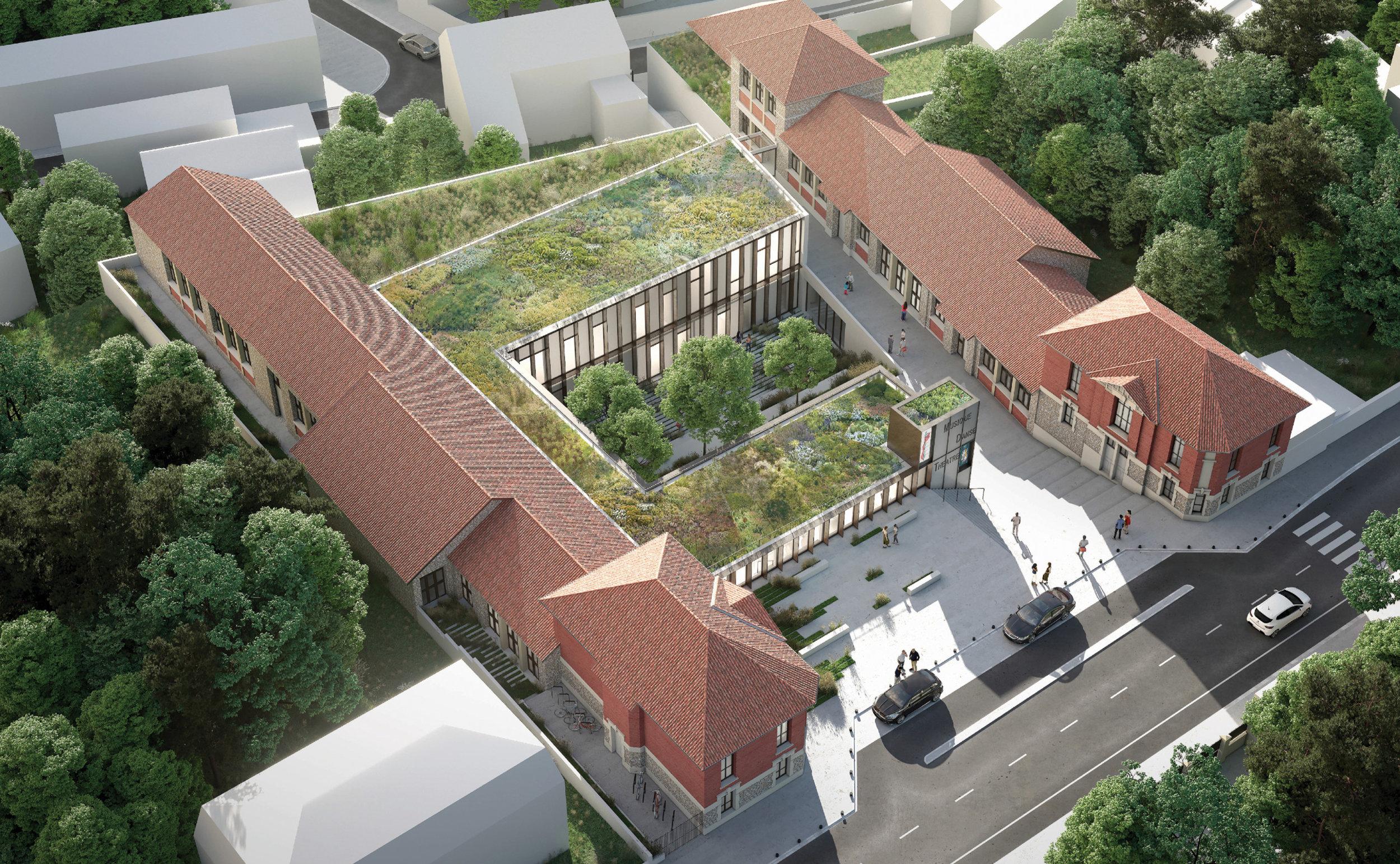 Conservatoire / Palaiseau (91)   Plus qu'un bâtiment, c'est un modelage du terrain qui est proposé pour le projet d'extension et de réhabilitation du conservatoire. Patios et terrasses végétalisés se succèdent, encadrés par les deux toitures linéaires des bâtiments conservés.