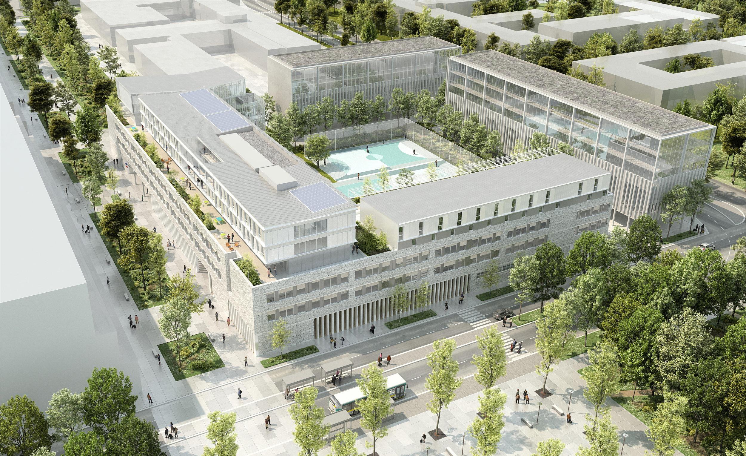 Lycée / Palaiseau (91)   Les grands enjeux de la conception du futur Lycée de Palaiseau résident dans la bonne adéquation entre les prescriptions urbanistiques fortes et le respect des données programmatiques indispensables au bon fonctionnement de l'établissement.