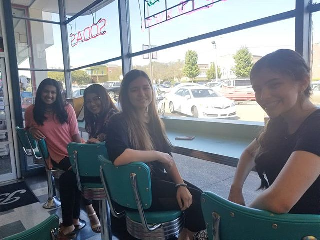 """Mariah/Noor (CA) and Ishika/Cecile (SC) are in Jackson, MS this weekend for the St. Andrew's Episcopal School tournament.  We had lunch at Brent's Drugs - a local institution something like Dinglewood Pharmacy back home - where part of the movie """"The Help"""" was filmed!"""