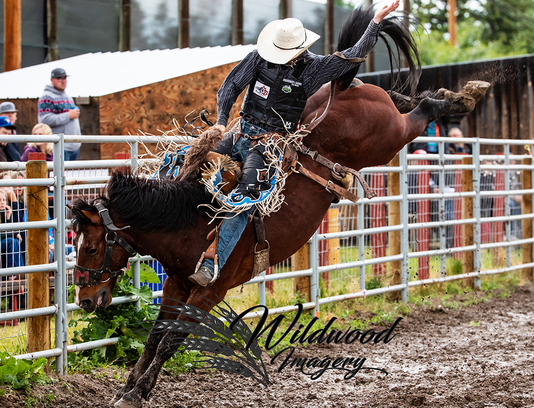 Lucas Macza competing at the Sat Perf - Couttsgrass Rodeo in Coutts, Alberta, Canada on June 16, 2018. Photo taken by Wildwood Imagery / Chantelle Bowman.