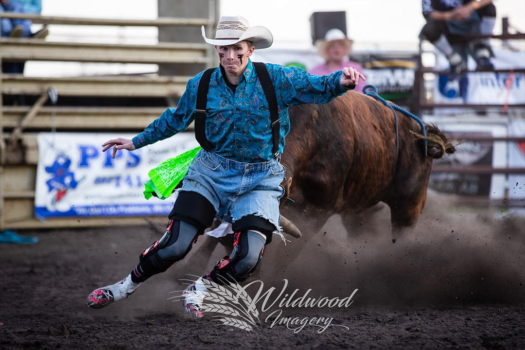 competing at the Pollock Freestyle Bullfighting @ Stettler Steel Wheel Stampede in Stettler, Alberta, Canada on June 07, 2018. Photo taken by Wildwood Imagery / Chantelle Bowman.Brody Tattrie competing at the Slack - Stettler Steel Wheel Stampede  in Stettler, Alberta, Canada on June 07, 2018. Photo taken by Wildwood Imagery / Chantelle Bowman.
