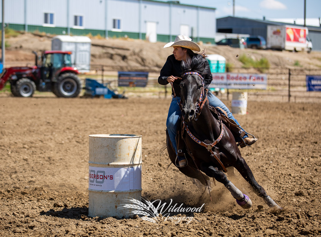 competing at the Havre Rodeo - Barrel Jackpot in Havre, Montana, United States on July 20, 2018. Photo taken by Wildwood Imagery / Chantelle Bowman.